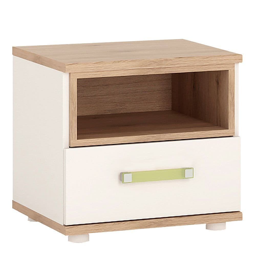 Kinder 1 Drawer bedside Cabinet in Light Oak and white High Gloss (lemon handles)